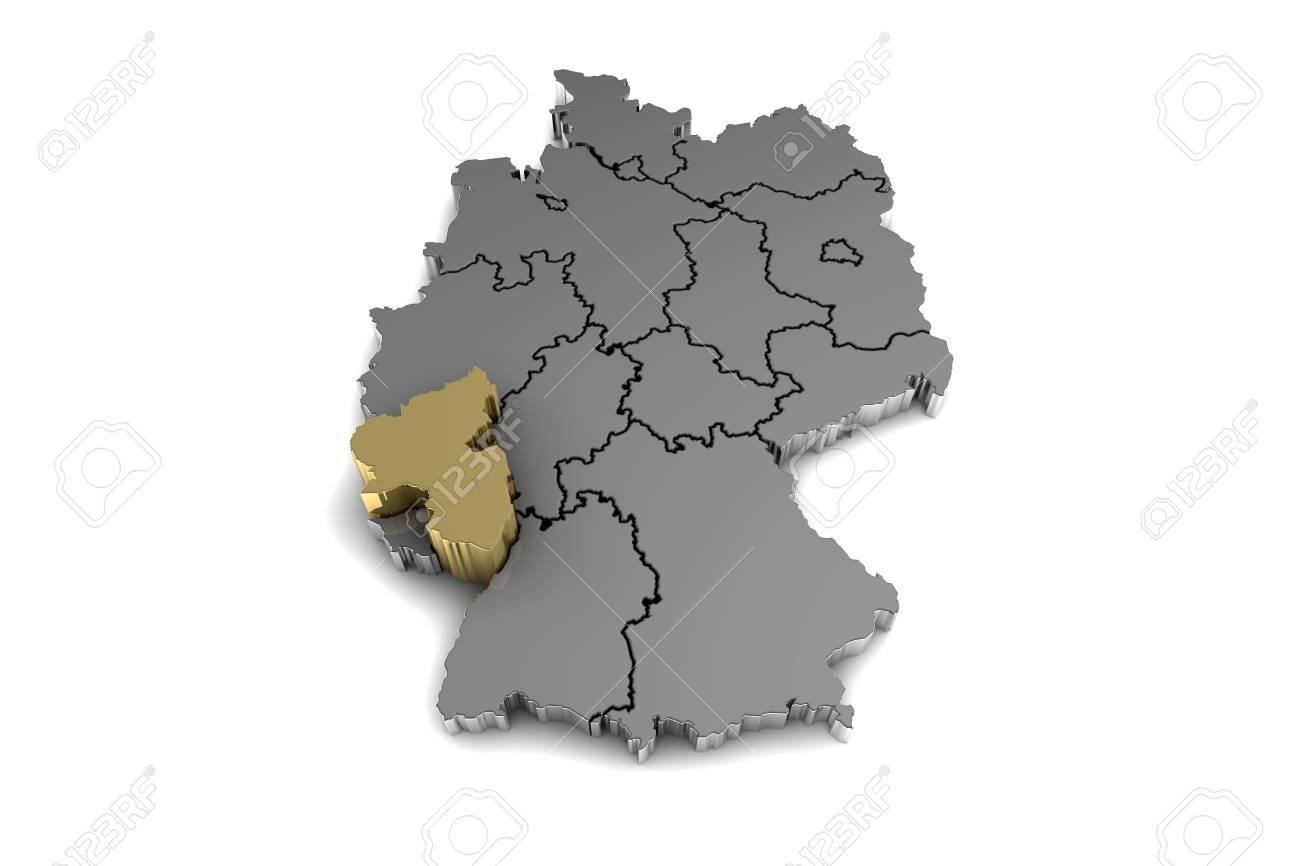 Map Of Germany Rhineland.Metal Germany Map With Rhineland Palatinate Region Highlighted