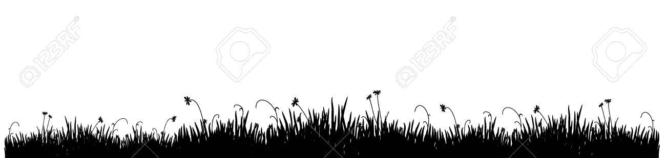 Black silhouette of a meadow grass on a white background Stock Vector - 3335461