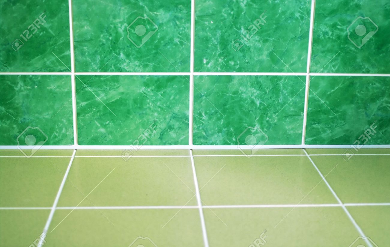 Ceramic Tile Floor Of Green Color. Shallow DOF Stock Photo, Picture ...
