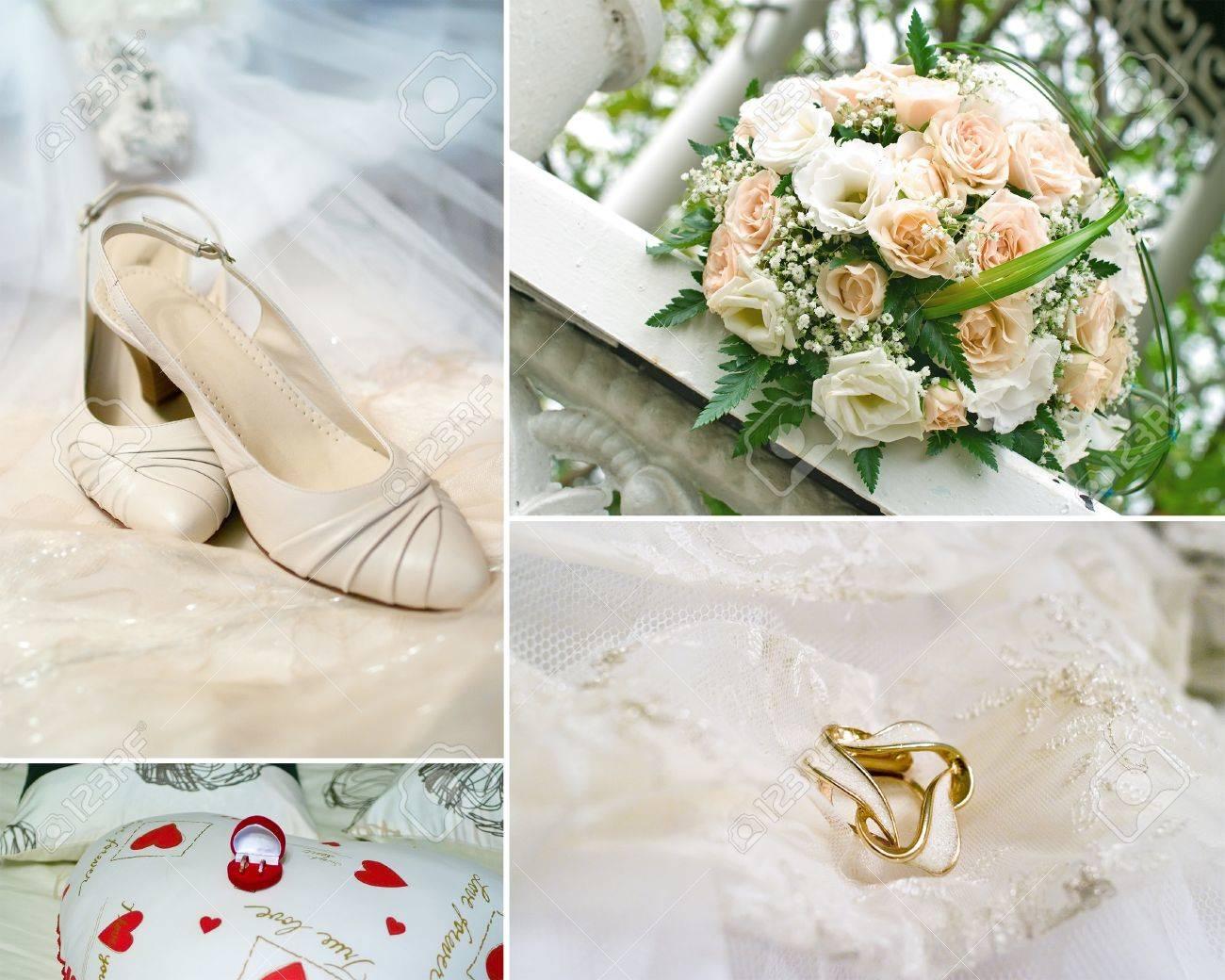 Hochzeit Collage Bridal Schuhe Hochzeitsstrauss Ringe Und Beige