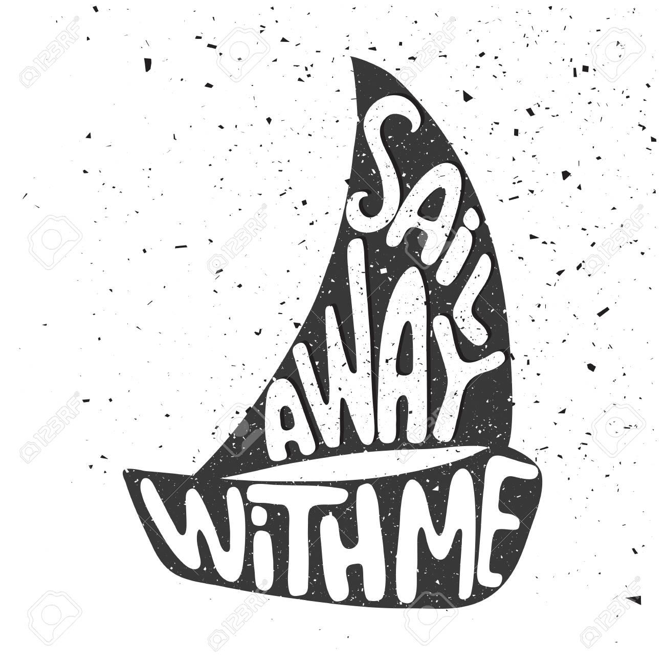 affiche de typographie dessiné main noir et blanc. naviguez avec moi