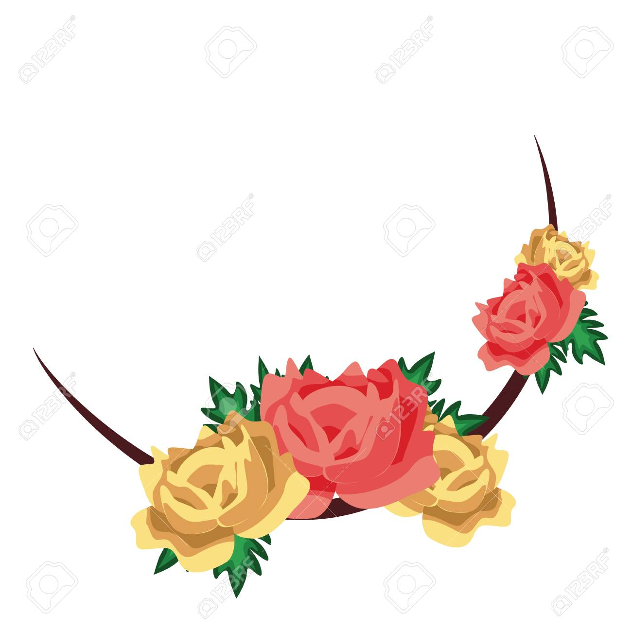 Roses Flower Wedding Invitation. Flower Wedding Frame. Hand Drawn ...