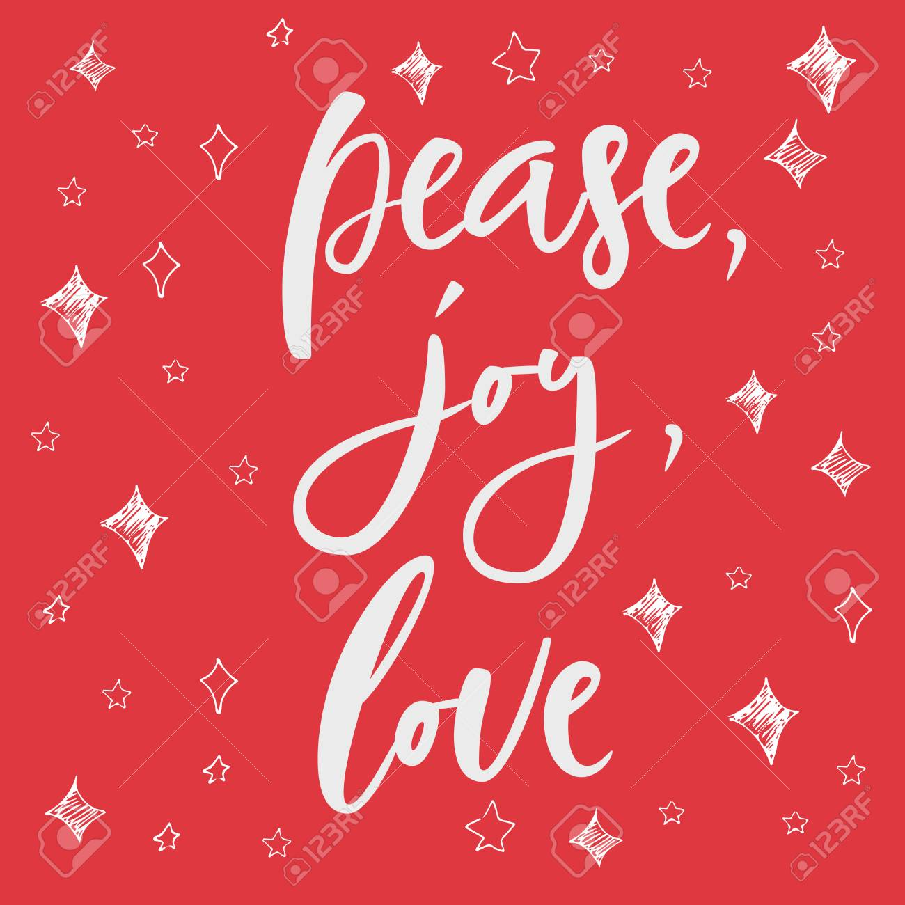 Pease, Joy, Love Greeting Card On Christmas Background. Hand ...