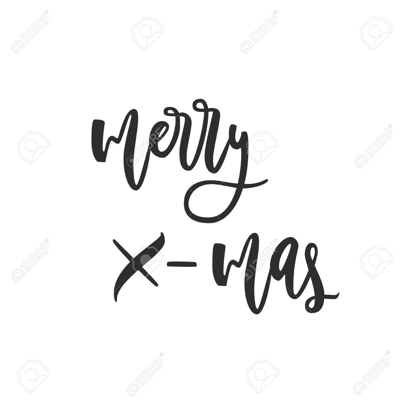 Merry X Mas Greeting Card Black And White Hand Drawn Lettering