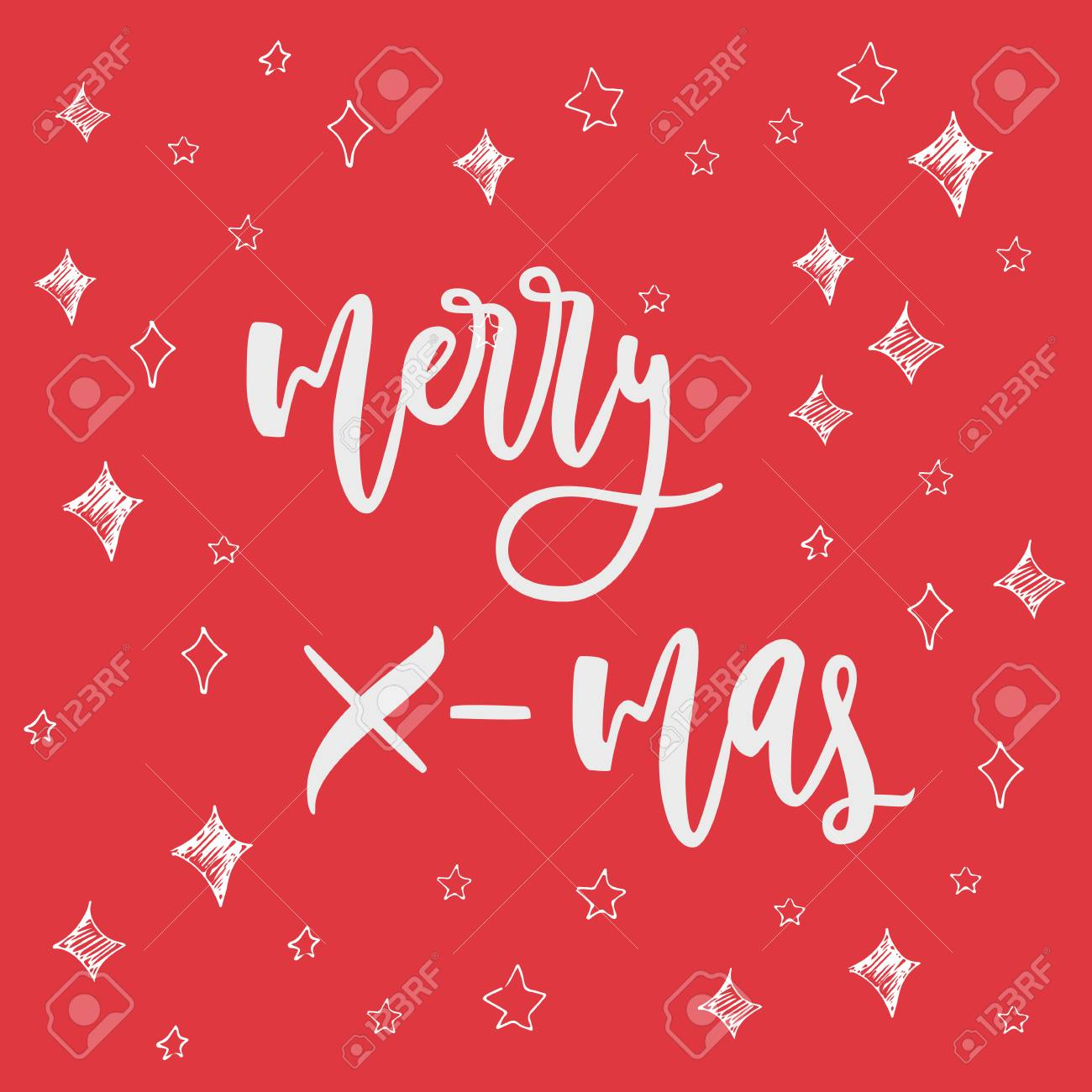 merry x-mas greeting card on christmas background. hand drawn