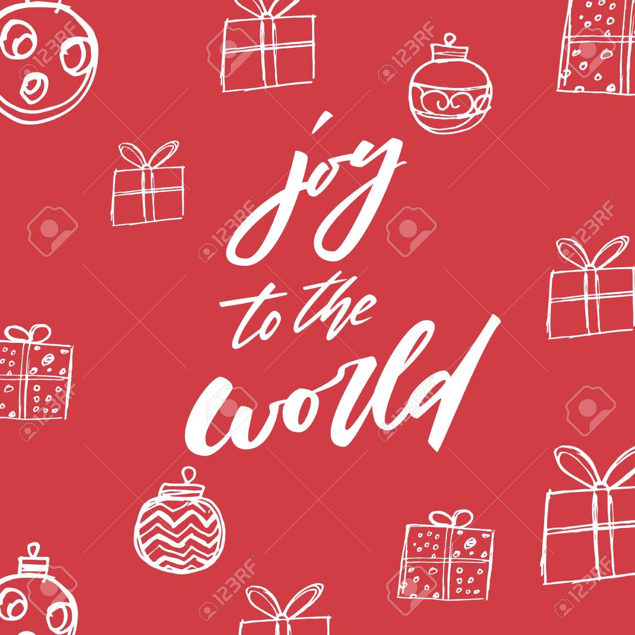 Joy To The World. Christmas And New Year Holiday Calligraphy ...