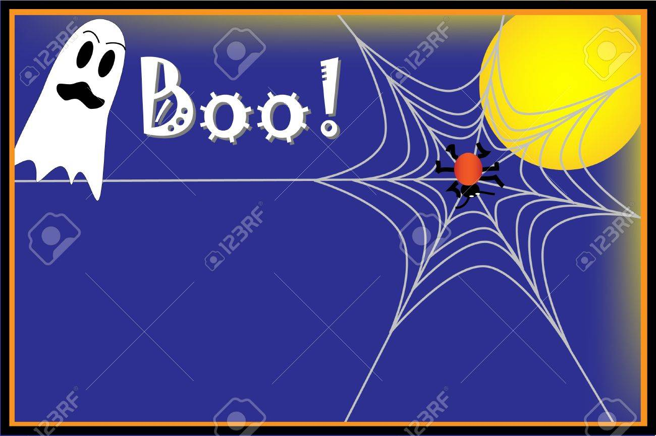 Halloween background with ghost, spider and spider web - 14877172