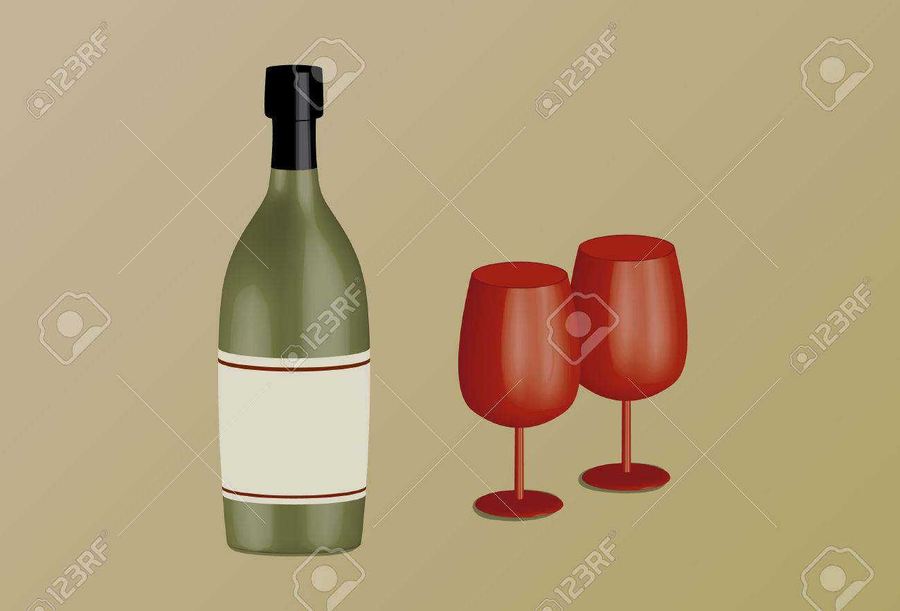 Wine bottle and wine goblets - 39298984
