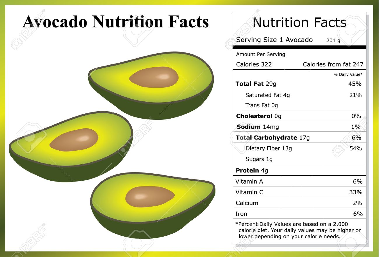 avocado nutrition facts royalty free cliparts, vectors, and stock