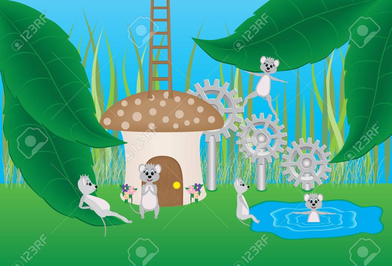 Mouse and Mushroom Cartoon - 43193278