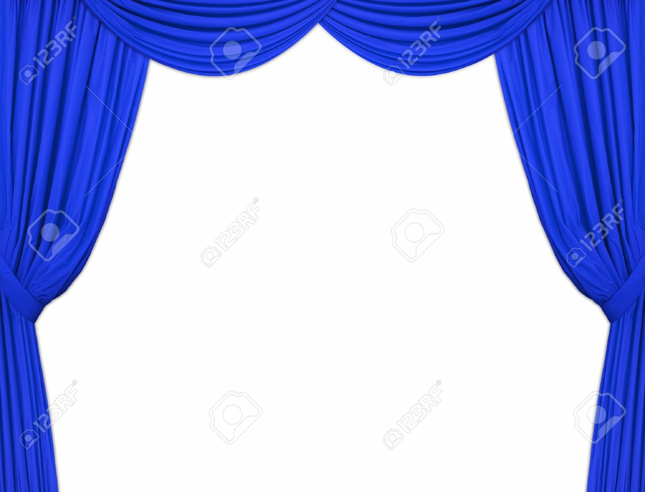 Cobalt blue curtains - Large Blue Theatre Curtains On A White Background Stock Photo 3679648