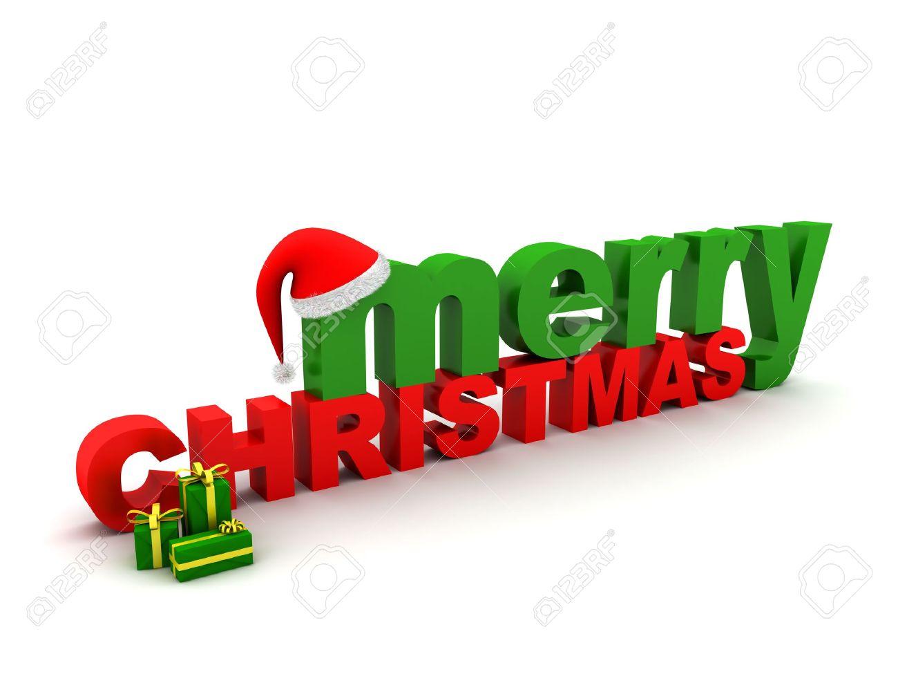 Die Worte Frohe Weihnachten, Christmas Hut Und Einige Präsentiert ...