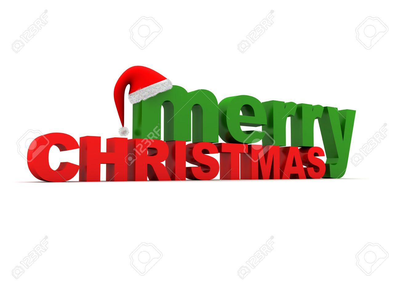 The Words Merry Christmas And A Christmas Hat. XXL Stock Photo ...