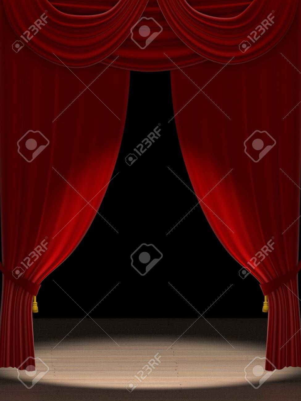 Stage curtains spotlight - Three Dimensional Render Of Red Velvet Theatre Curtains With A Spotlight On Stage Stock Photo