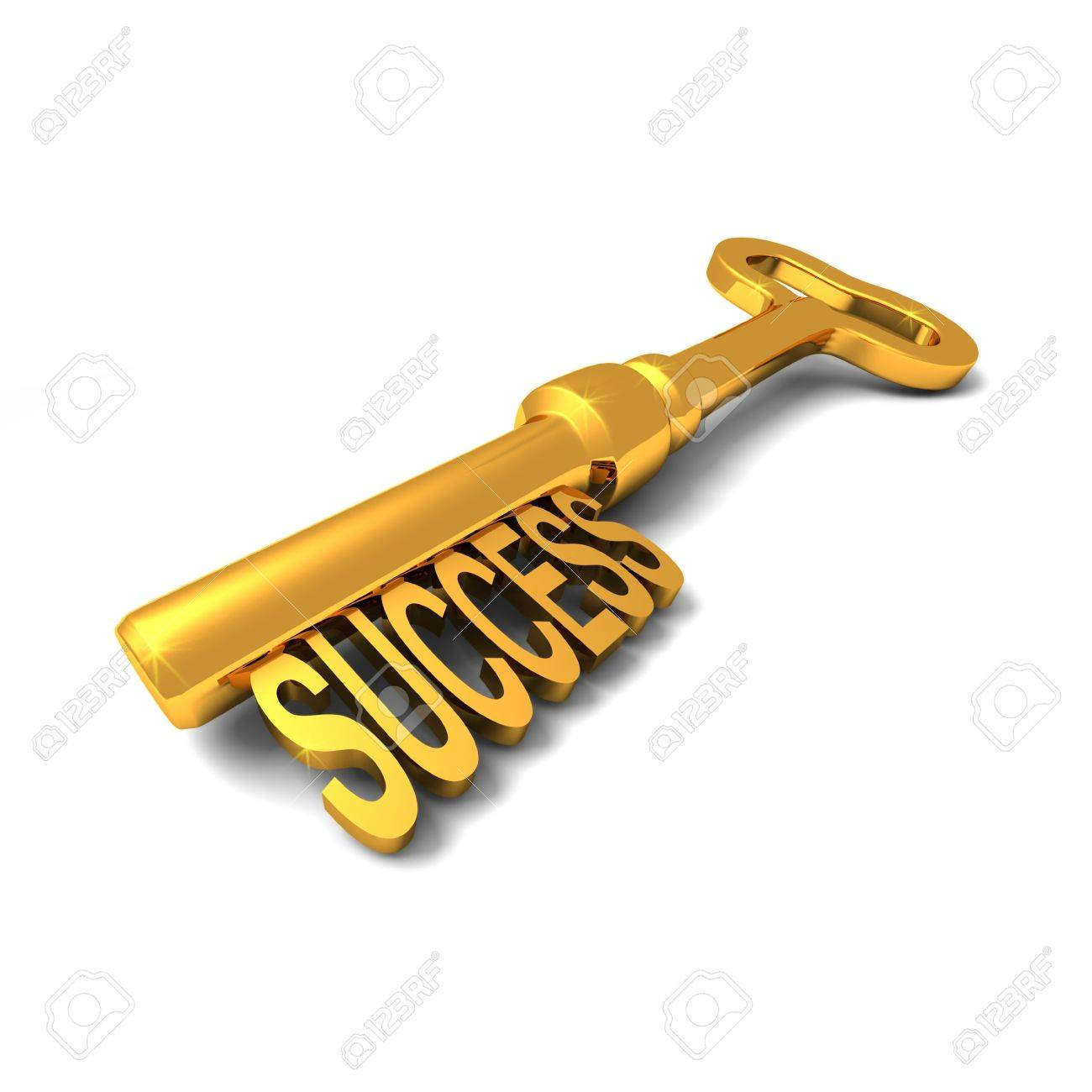 With golden key 3d rendering plan concept with golden key 3d rendering - Golden Key 3d Render Of Shiny Golden Key With The Word Success