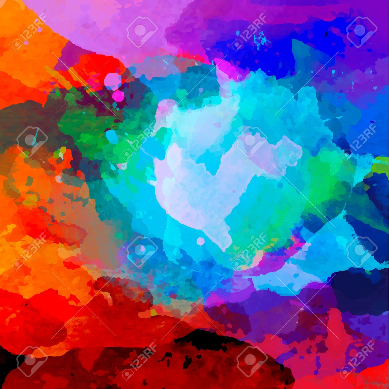 Abstract Watercolor Palette Of Blue Colors Mix Color Vector