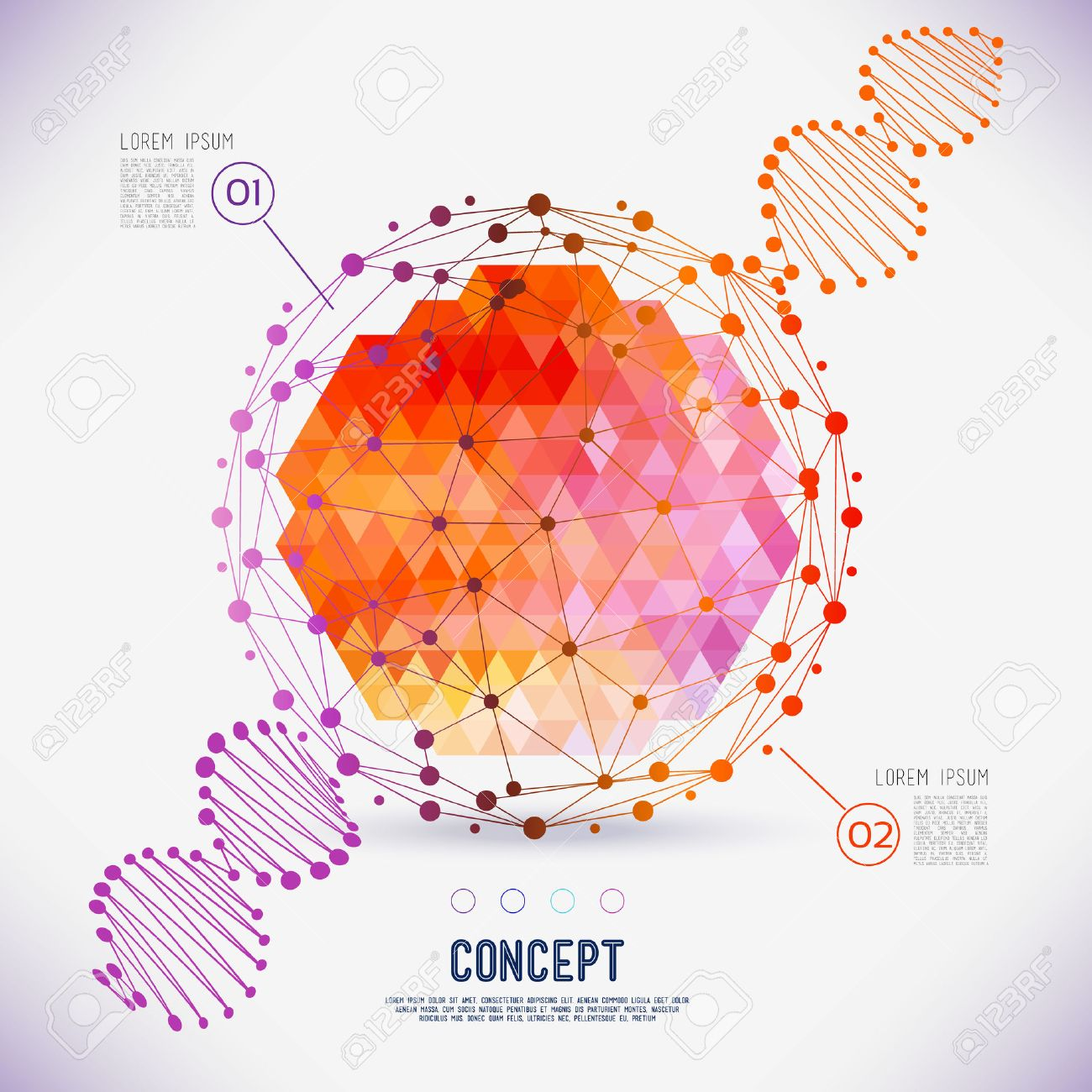 Abstract concept geometric lattice, the scope of molecules, DNA chain. Round composition of the molecular lattice with geometrical figure in the middle. Color composition vector for your design. - 41912164