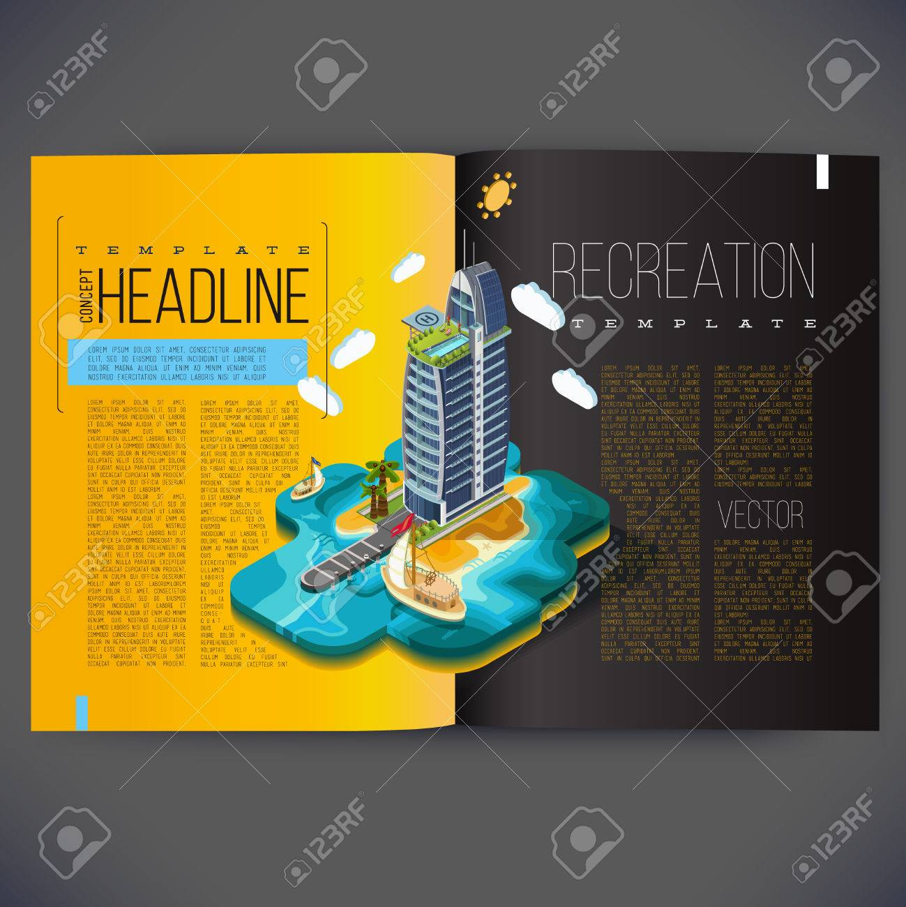 Vector Template Design For The Pages Of The Magazine Brochure Page