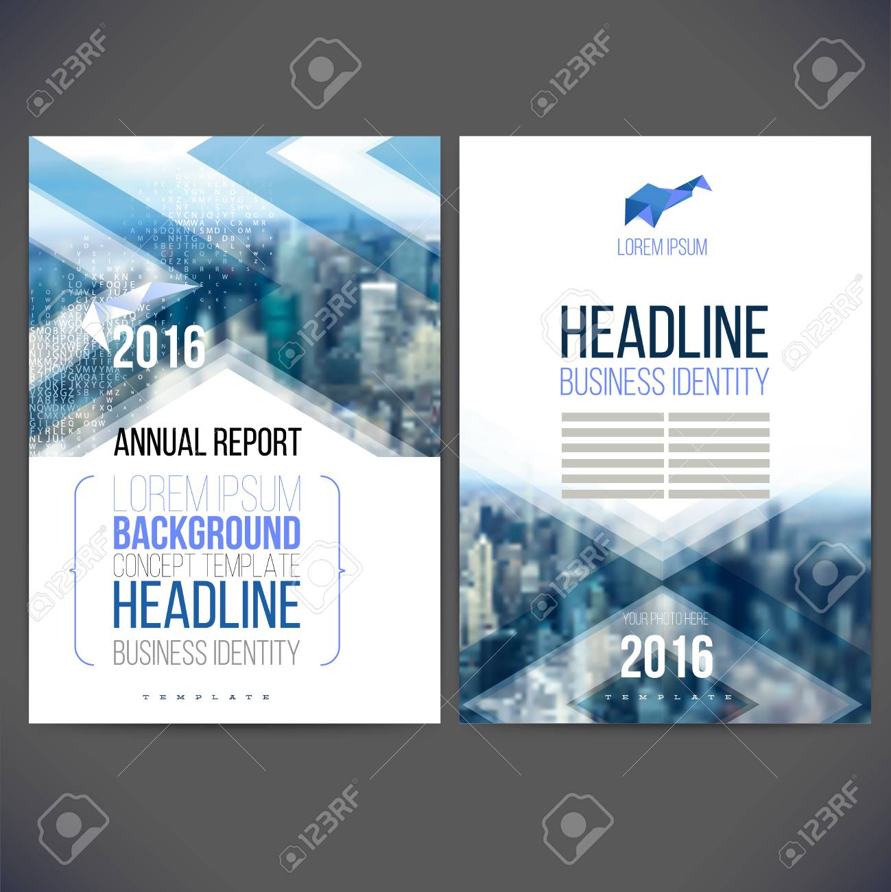 Template Design Annual Report Layout With Colorful Cityscape - Annual report design templates 2016