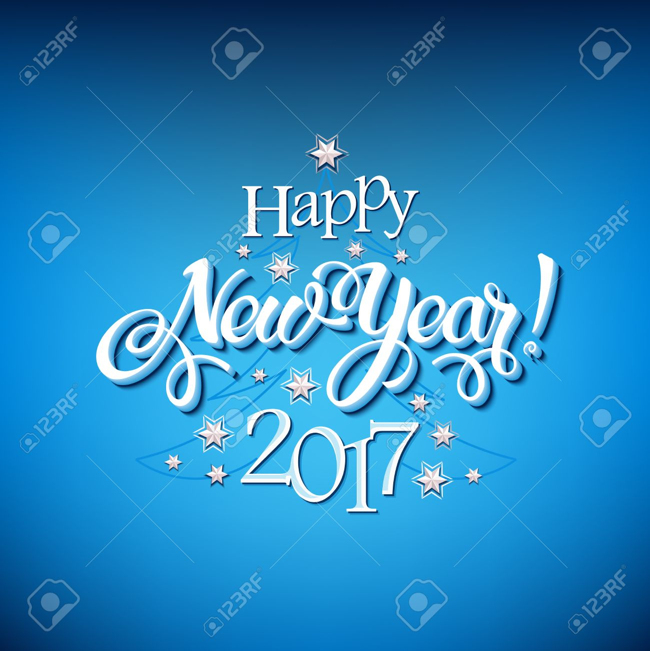 Happy New Year 2017 Sign On Blue Background Calligraphy Text – New Year Poster Template