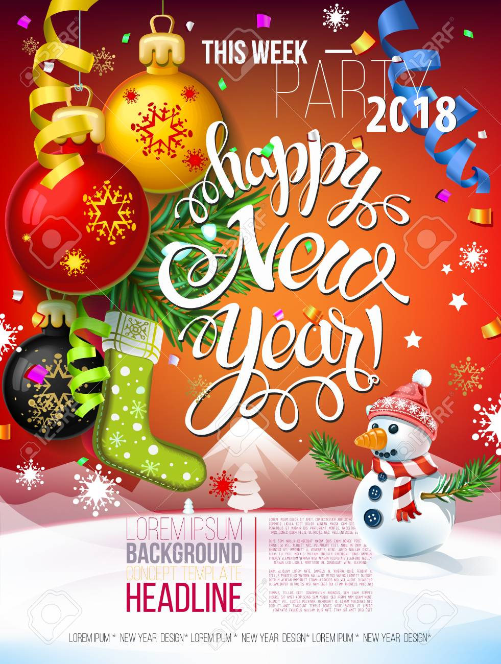 happy new year 2018 decoration poster card and merry christmas royalty free cliparts vectors and stock illustration image 90069218 happy new year 2018 decoration poster card and merry christmas