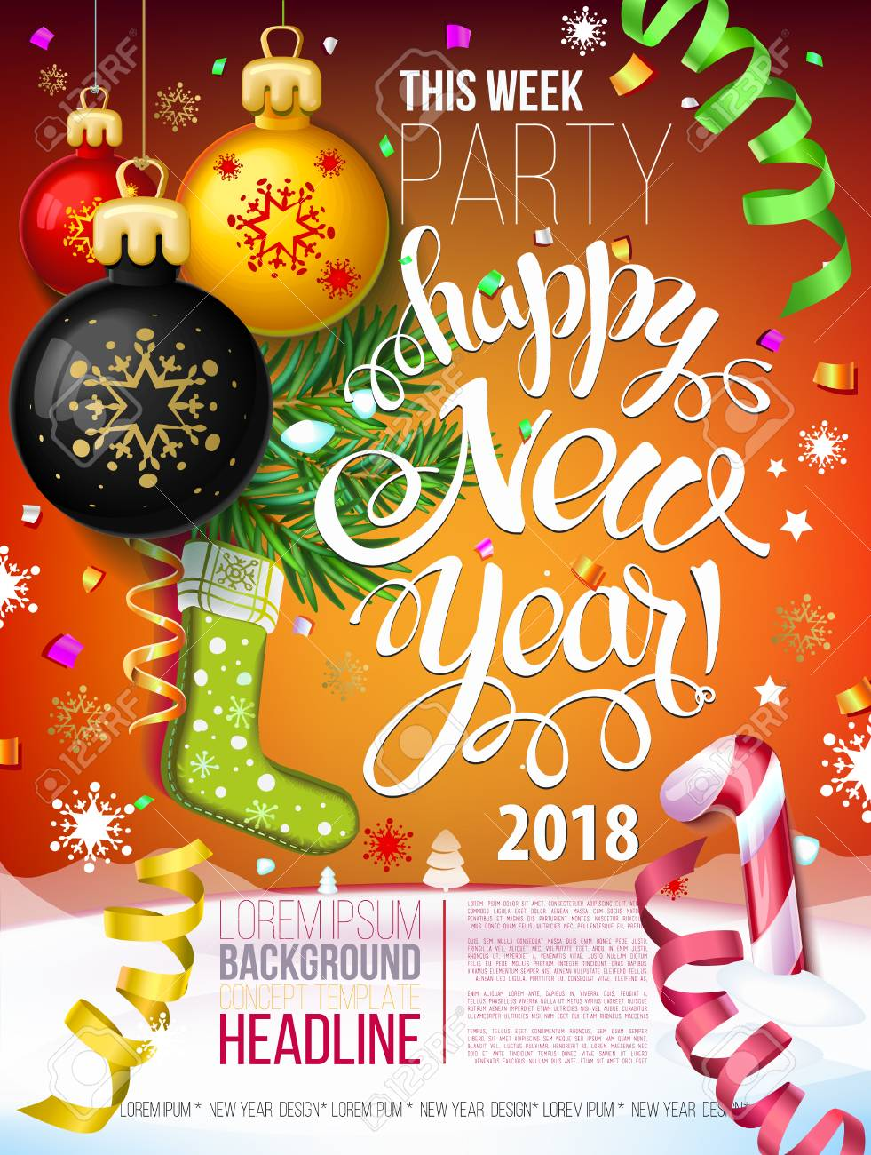 Merry Christmas Poster 2018.Happy New Year 2018 Decoration Poster Card And Merry Christmas