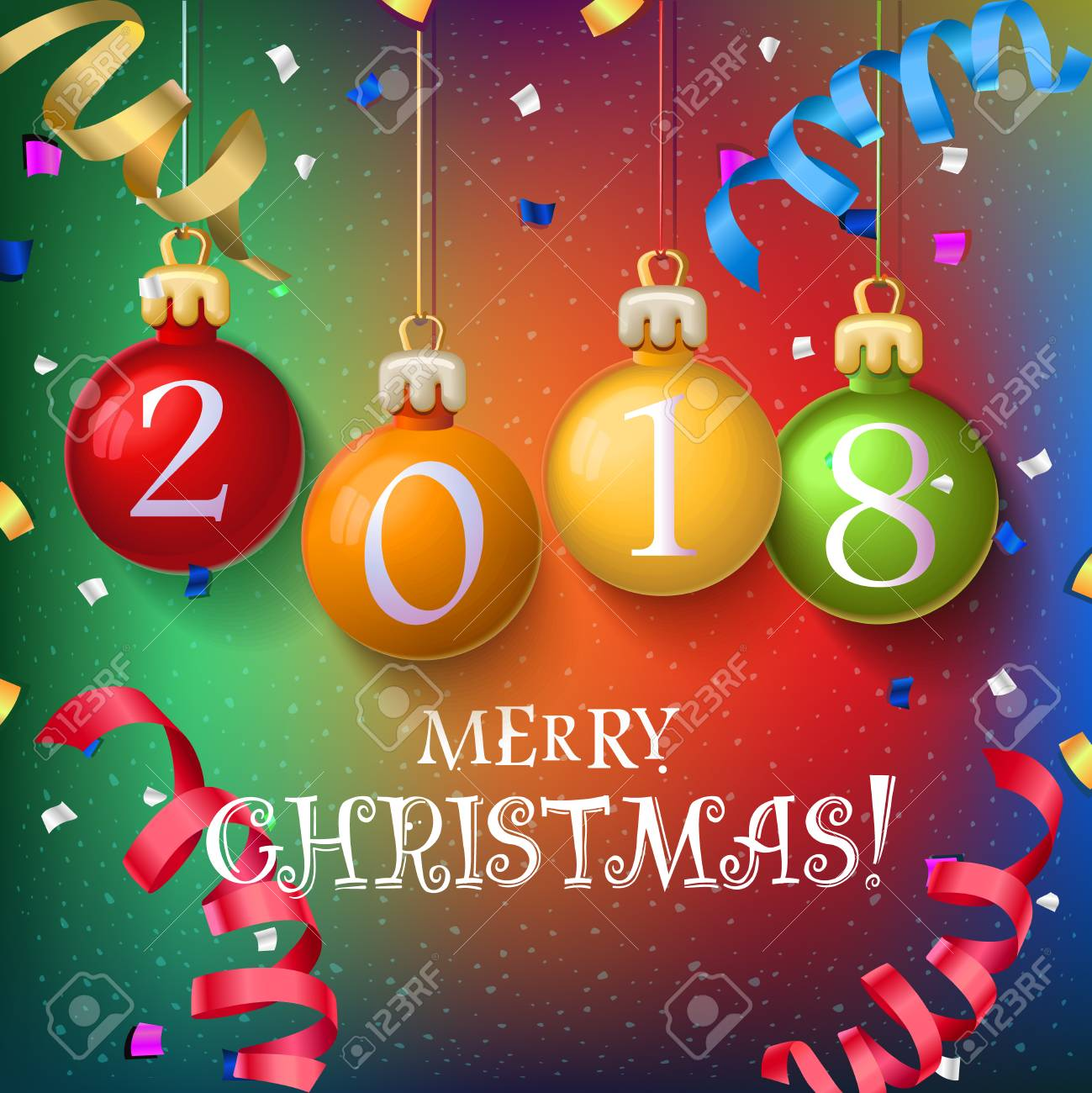 Merry Christmas Poster 2018.Merry Christmas 2018 Decoration Poster Card New Year Background