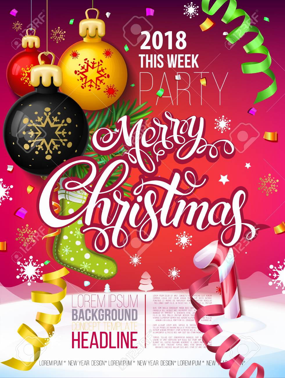 Merry Christmas Poster 2018.Merry Christmas 2018 Decoration Poster Card And Happy New Year