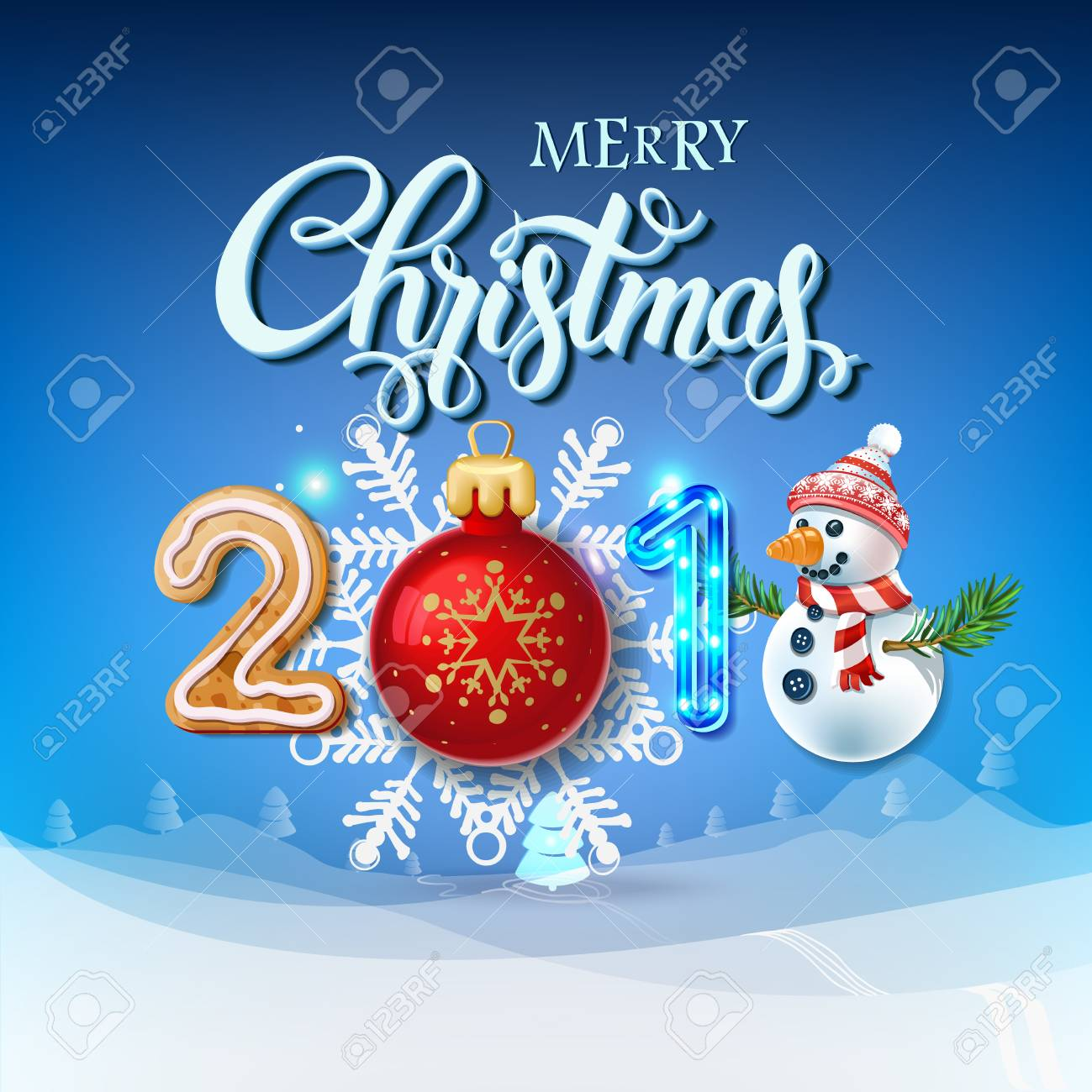 Merry Christmas Poster 2018.Merry Christmas 2018 Decoration Poster Card Happy New Year Sign