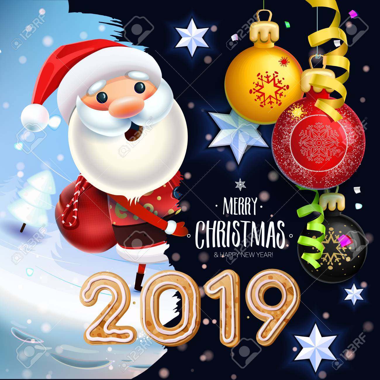 Christmas Toys.2019 New Year Merry Christmas Symbol Santa Claus On A Winter