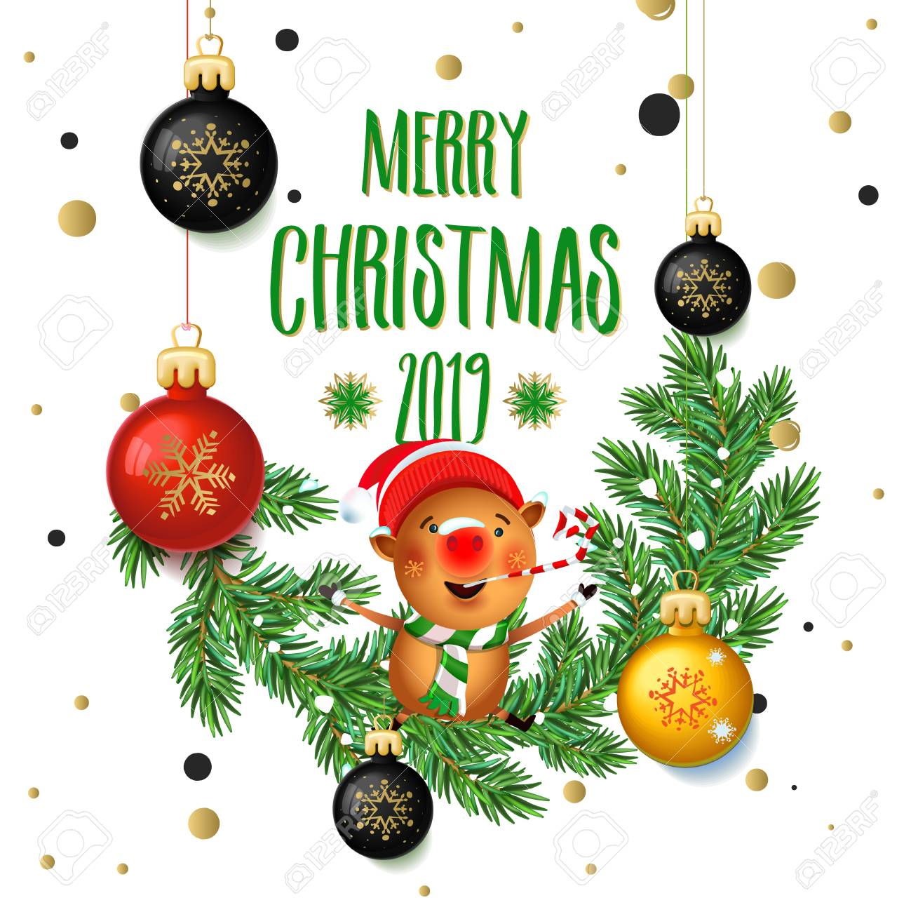 Merry Christmas Images 2019.Merry Christmas 2019 Poster Card With Pig Calligraphy Text