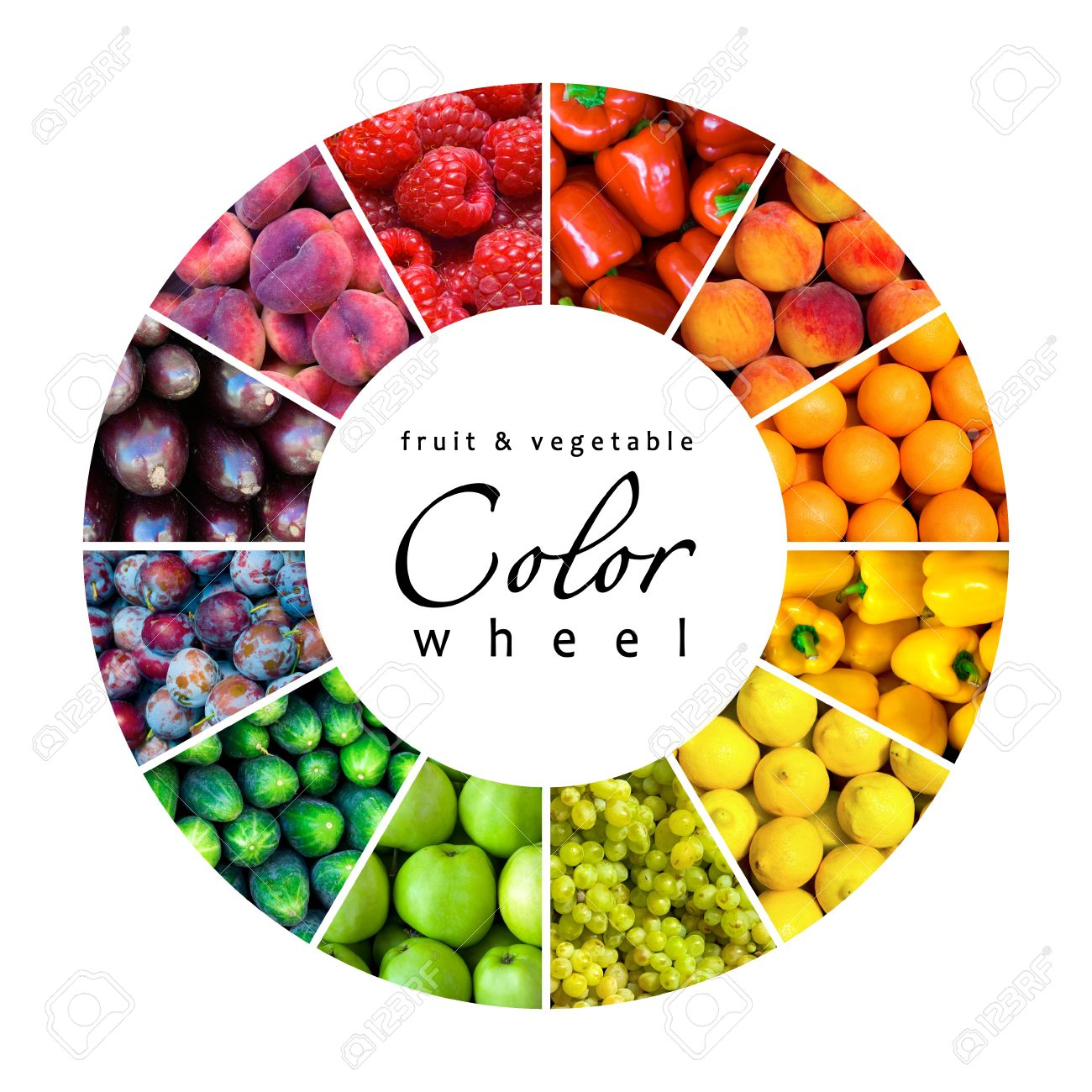 Fruit And Vegetable Color Wheel 12 Colors Stock Photo