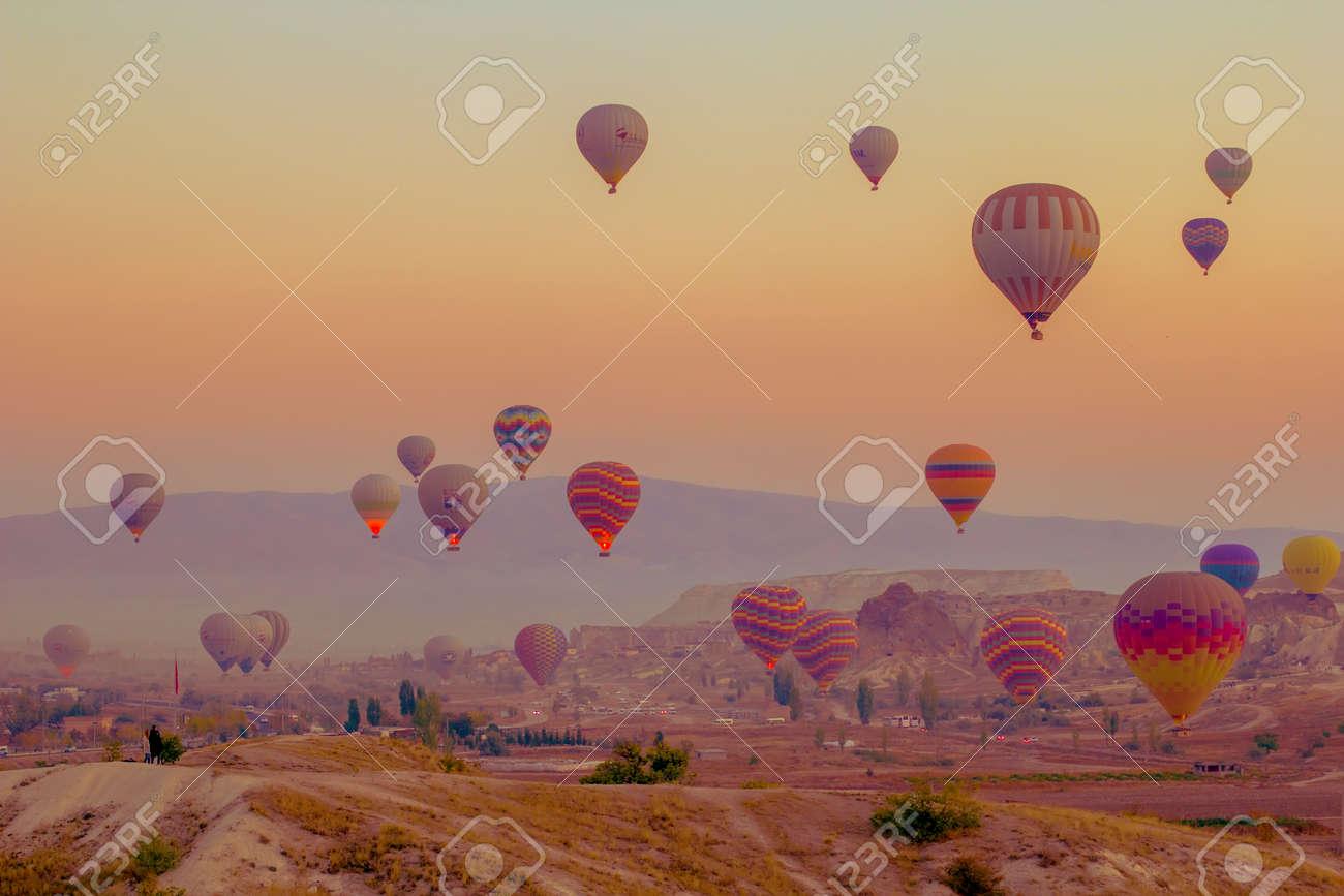 Cappadocia Turkey. October 30. 2019. - Panorama of the runway in Cappadocia at sunrise - 150867815