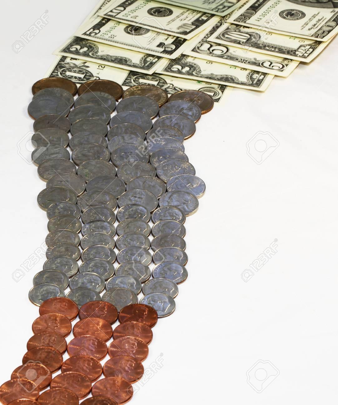 Us Dollar Scheine Und Münzen Lizenzfreie Fotos Bilder Und Stock