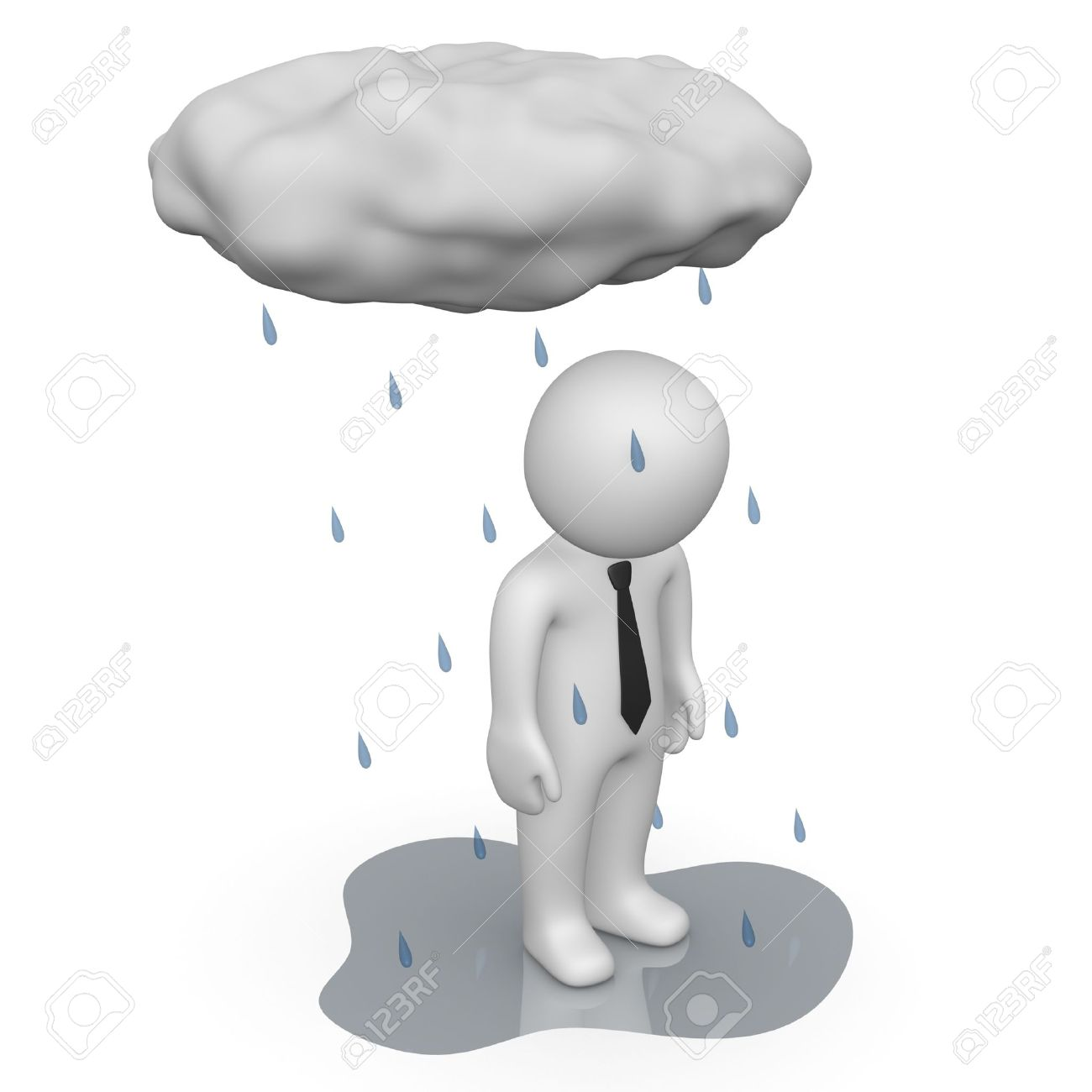 3d man standing under small rain cloud Stock Photo - 13097343