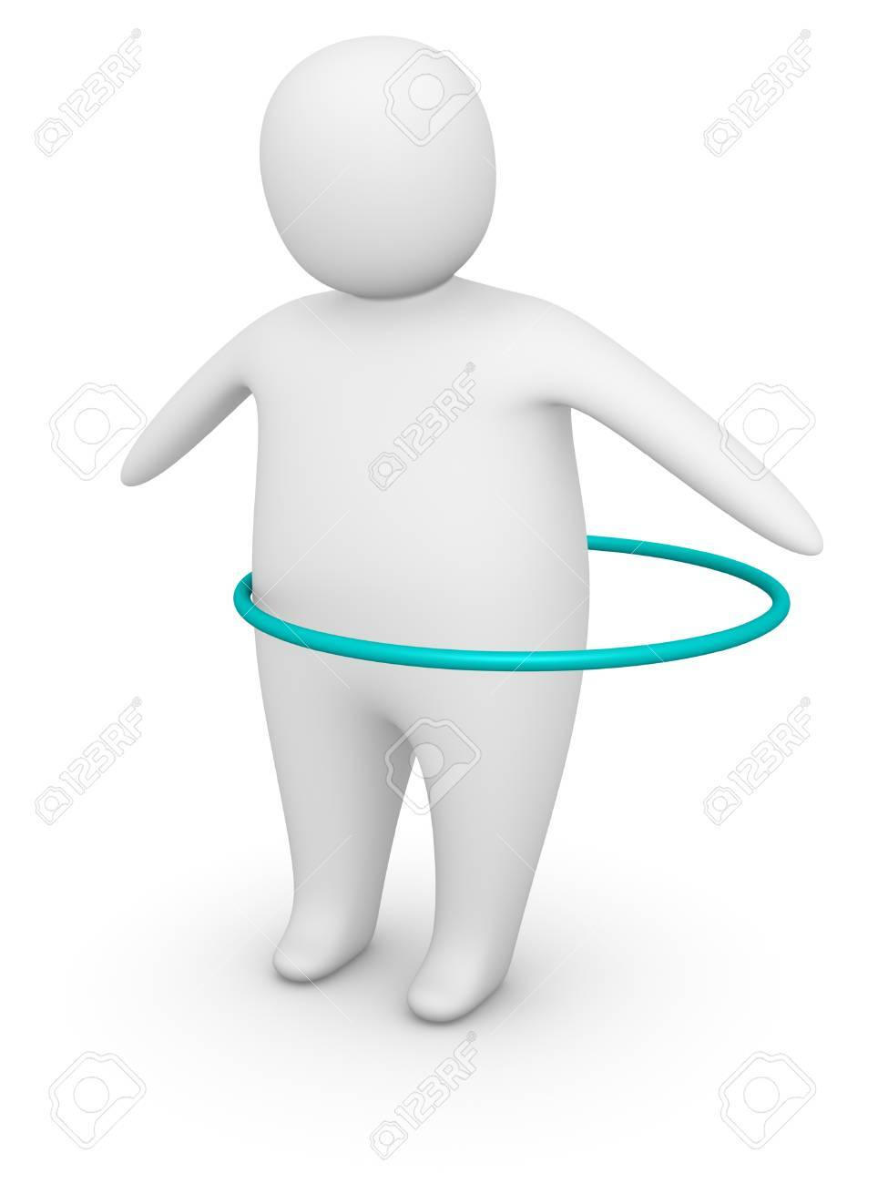 Fat man working out with   hoop Stock Photo - 13097234