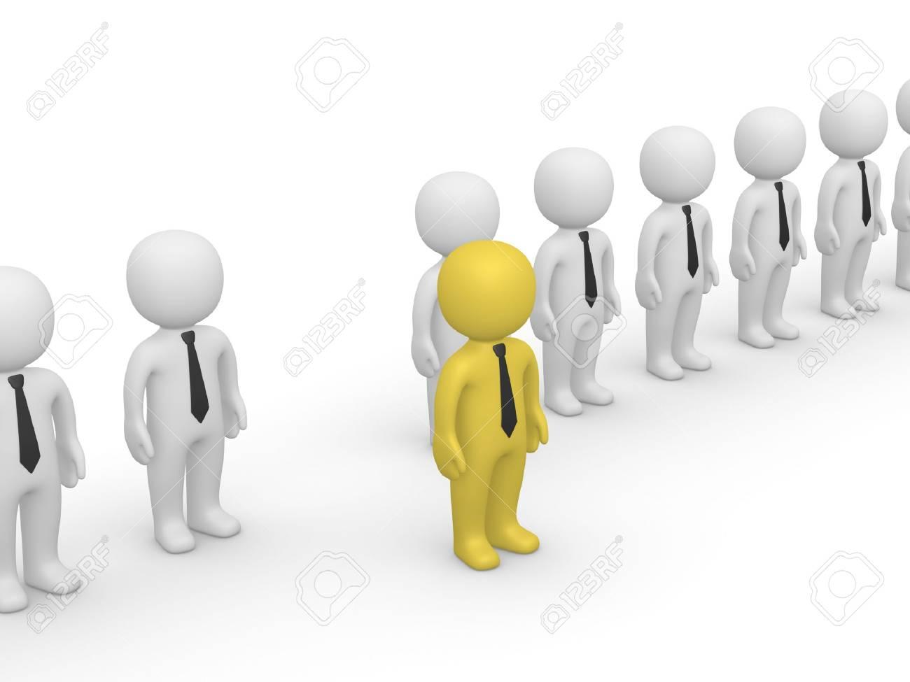 Fila De Personas 3d Con Un Pie Fuera. Tercer Marco De Una Animación ...