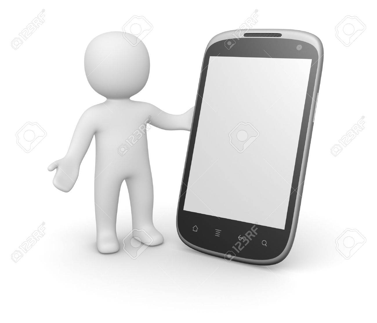 3d man with smart phone. 3d rendering. Stock Photo - 16549457