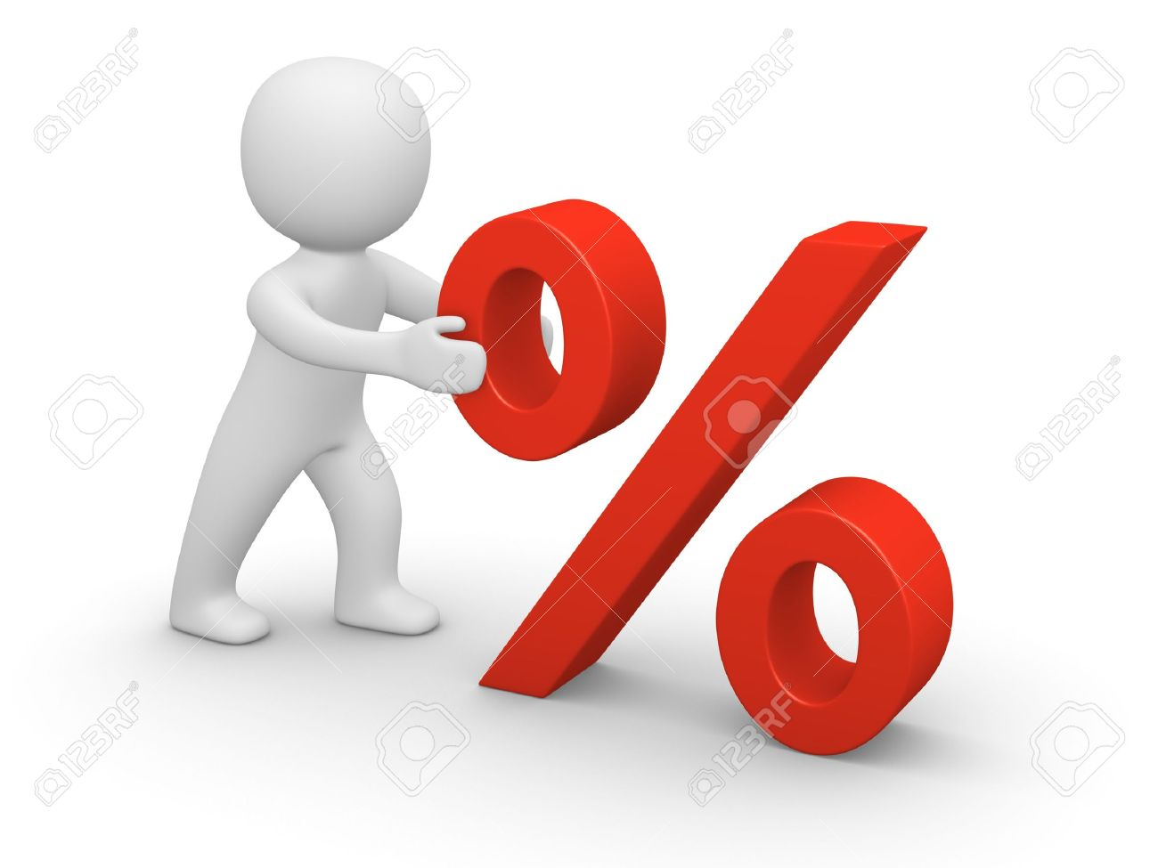 3d man pushing red percent sign. 3d rendering. Stock Photo - 17215047