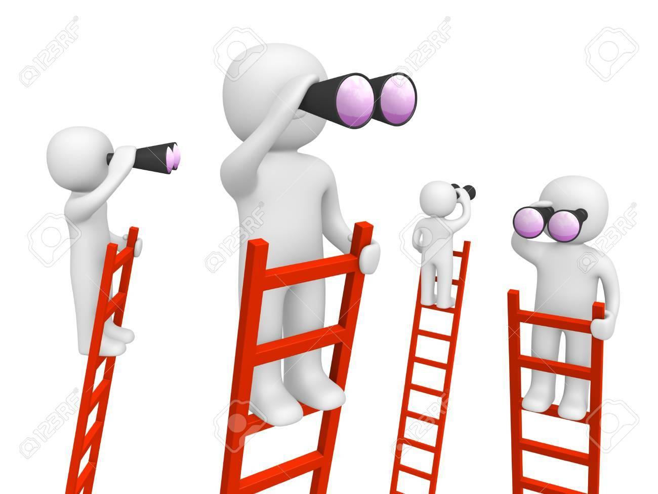 3d people standing on the ladders and looking through binoculars. 3d render. - 88363467