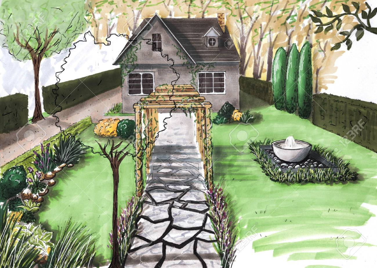 Landscape Design Project. Landscape Architecture Plan In The Courtyard For  Villa. View Of The Path Plan Watercolor Markers. Playground. Front Door. ...