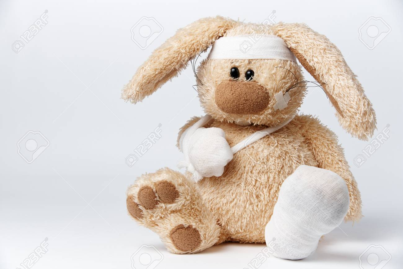 Cute sick bandaged hare on a white background. - 102241571