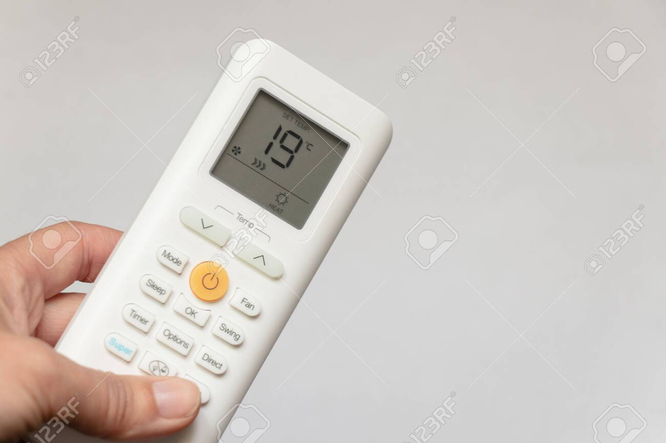 white air conditioner remote control with temperature mode for heat - 148113249