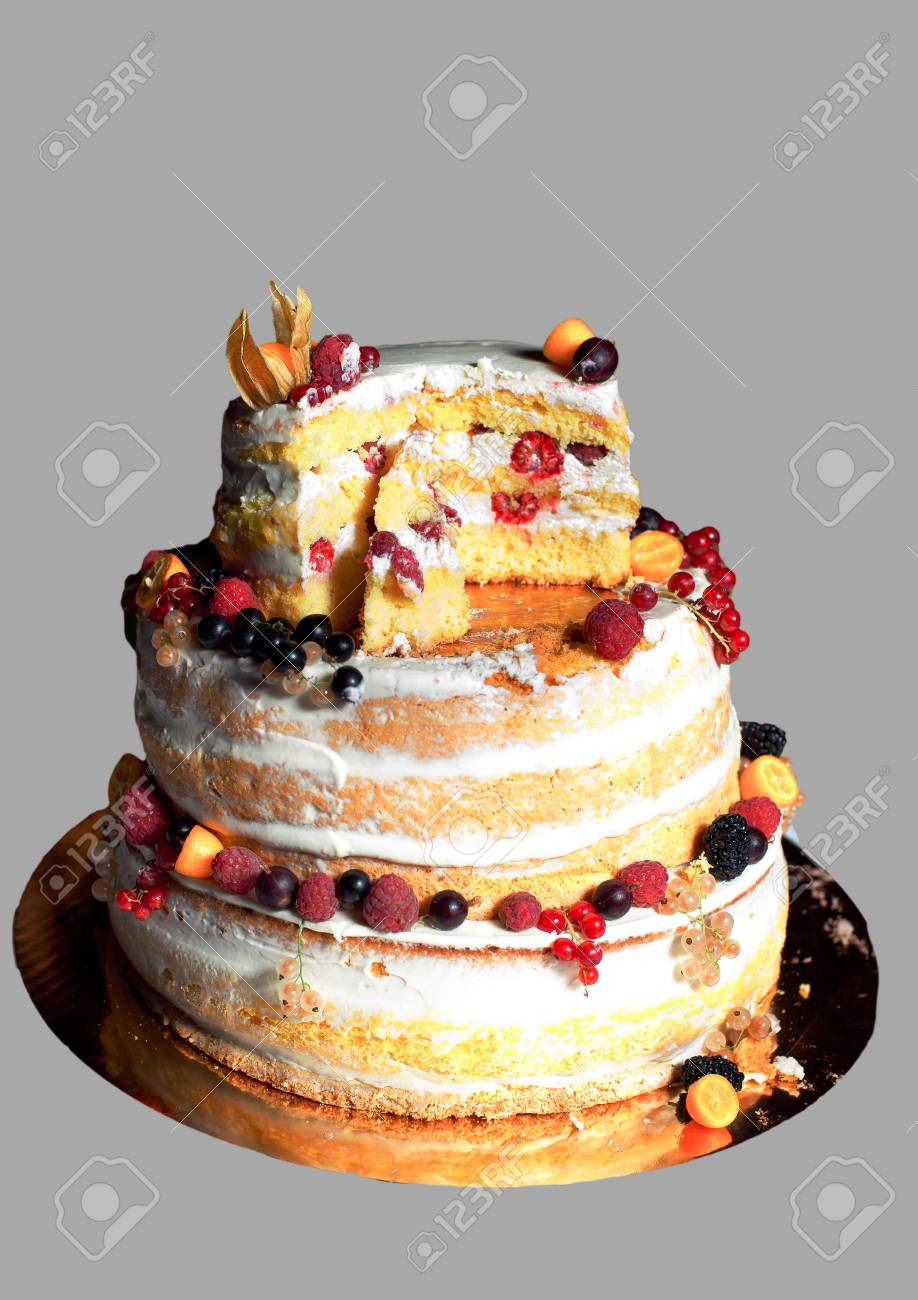 Rustikale Hochzeitstorte Mit Fruchten Lizenzfreie Fotos Bilder Und
