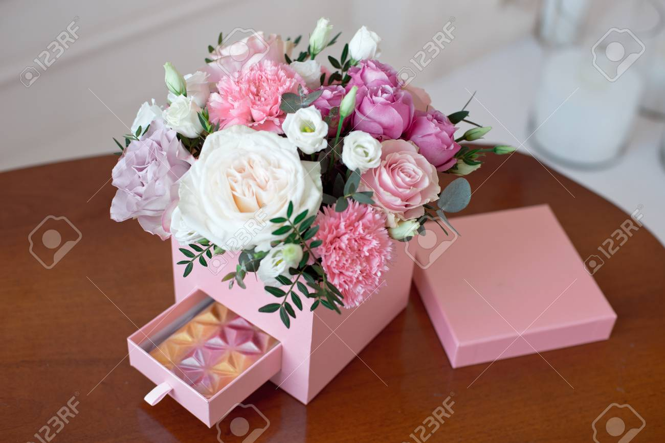 Square Pink Flower Box With Fresh Rose Stock Photo Picture And Royalty Free Image Image 97068006