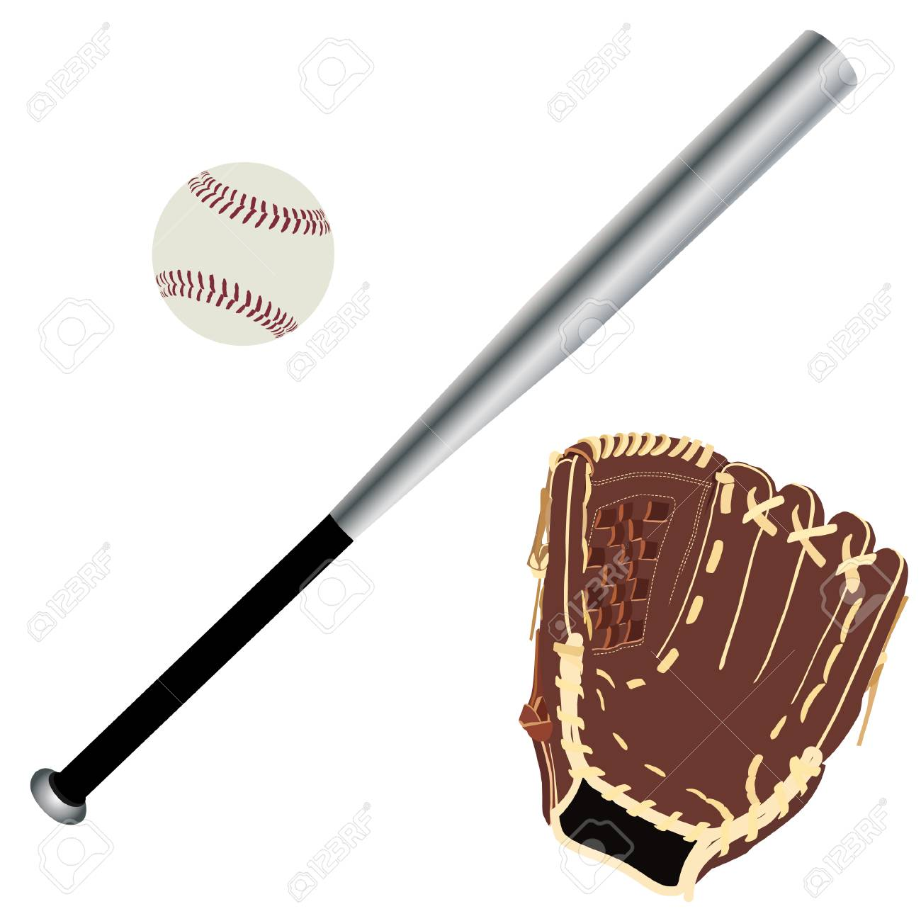 Baseball Glove Baseball Bat Baseball Ball Sport Equipment Royalty