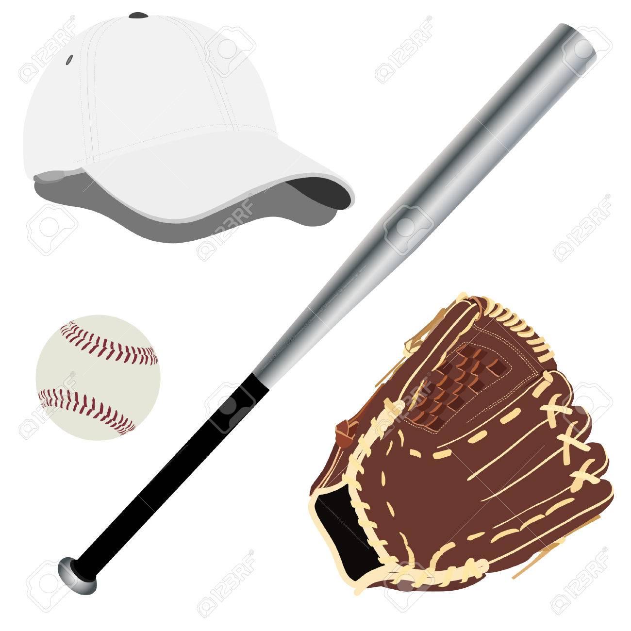 baseball cap baseball hat baseball bat baseball glove royalty rh 123rf com Baseball Bat and Ball Clip Art Baseball Bat Clip Art Vector