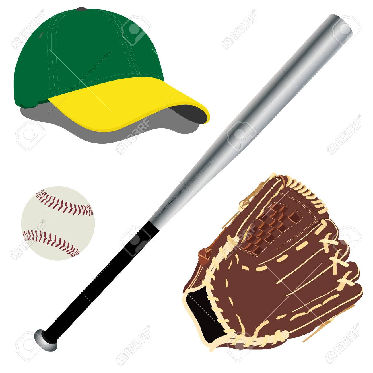 baseball cap baseball hat baseball bat baseball glove royalty rh 123rf com Baseball Bat Vector Silhouette Baseball Bat Clip Art