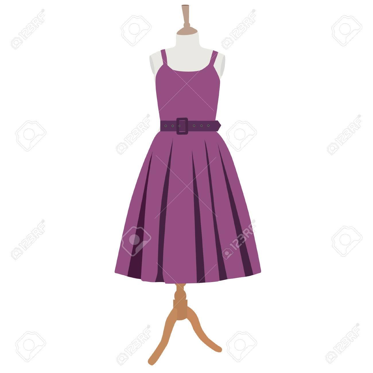 Vestido De Púrpura, Sobre Maniquí Vestido, Ropa, Vintage ...