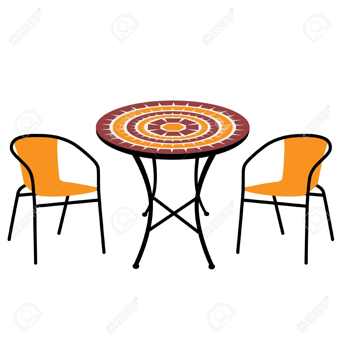round table and chairs clipart. vintage outdoor table and chairs isolated, round vector stock - 38810480 clipart